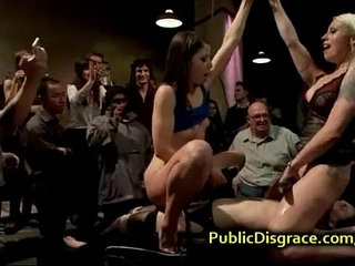 Bound babe humiliated in front of crowd