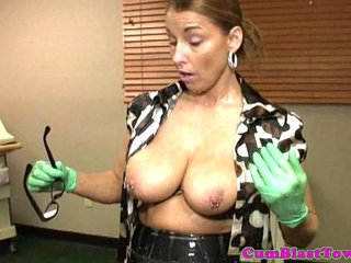 Cumblasted milf nurse with big pierced boobs