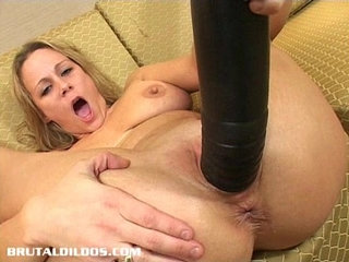 Busty milf stretched by brutal dildo