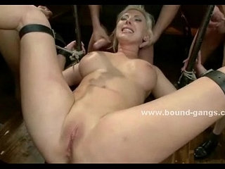 Blonde with large boobs left naked