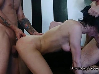 Tattooed punk babe gets threesome fuck and facial cumshot