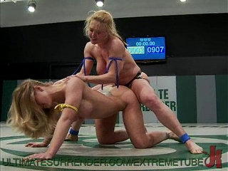 Busty Babes Wrestle and Fuck