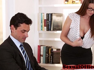 Busty secretary getting fucked on table