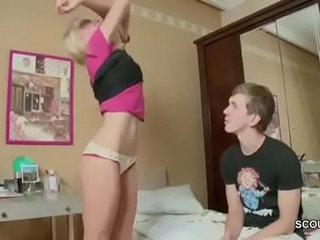 Brother Helps Petite Skinny Step Sister with Her First Fuck