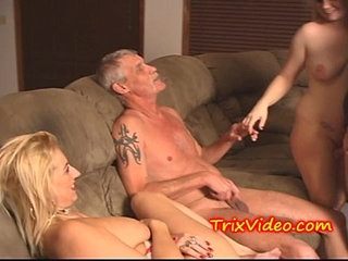 Dad and son fuck their babe girlfriends