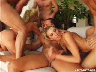 Ass Traffic Four guys double penetrate two big tittied blondes