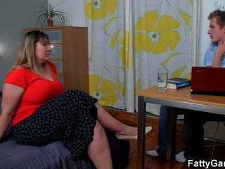 Hot fatty gives a deep throat
